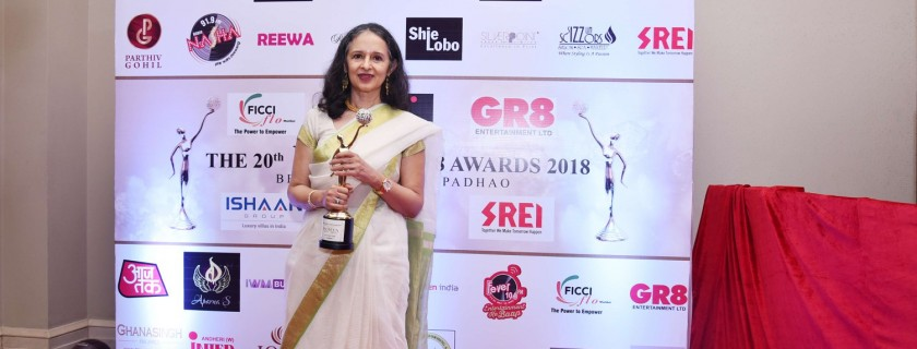 Dr. Ashima Goyal was awarded the 20th FLO GR8 Beti Award for Excellence in the field of Economics and Policy, by the Women Wing of FICCI, FLO, and the NGO Beti on 17 April, 2018